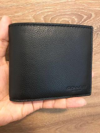 BN 💯 Authentic Coach Mens Wallet with detachable passcase in Black Calf Leather