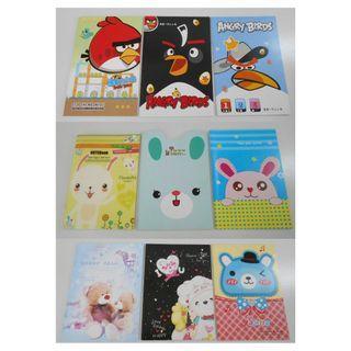 (9本) A5 單行簿 熊仔 筆記簿 angry bird 記事本 rabbit卡通 簿仔