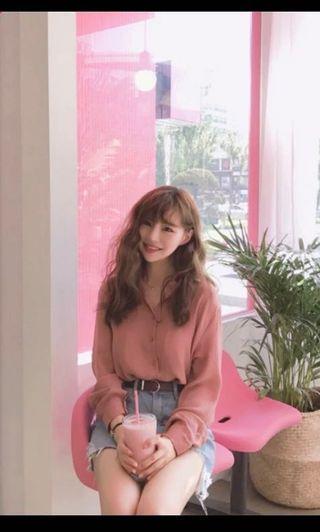 乾燥玫瑰紅色粉紅色恤衫 red pink shirt