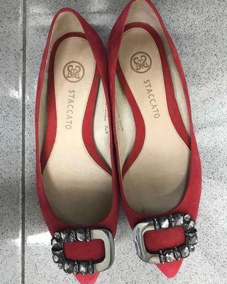 Staccato Authentic Women's Flat Shoes - Red Ferrari (Pre-Owned)