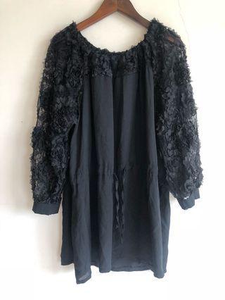🚚 黑色 玫瑰蕾絲 雪紡洋裝 連身上衣 謝師宴 婚禮 dress