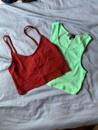 Topshop Crop Tops in Mint and Maroon
