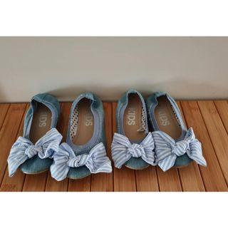 Size 12 & Size 13 Euc as new chambray Cotton On Kids bow tie flats