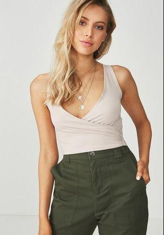 Supre Luxe Wrap Top in Natural