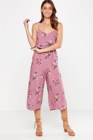 Cotton On Woven Maddie Strappy Jumpsuit in Holly Floral Orchid Haze