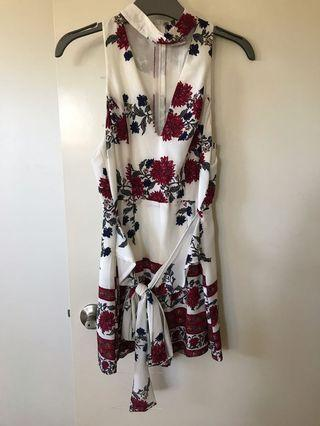 White and red pattern playsuit