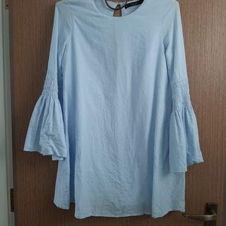 Zara big sleeve sky blue dress