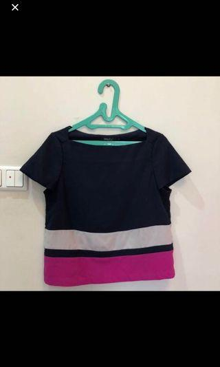 Baju Navy Blue Stripe White and Pink