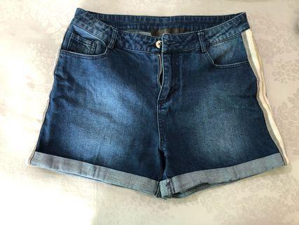 Celana Pendek Jeans Folded Stripe White Gold