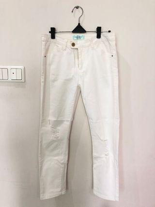 Celana Panjang Ripped White