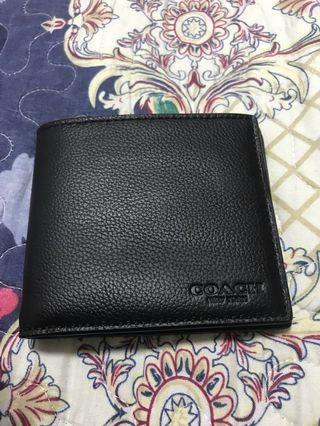 BN 💯 Authentic Coach Mens Wallet in Black sport calf leather