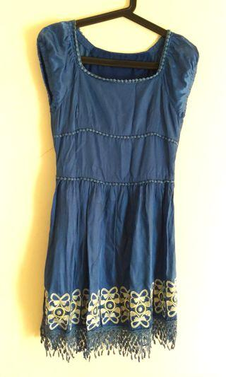 媽媽的菜寶藍流蘇洋裝