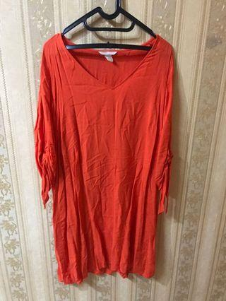 bigsize jumbo h&m orange dress