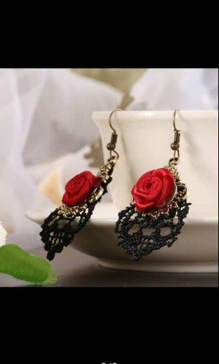 Rose Black Lace Earing #MGAG101