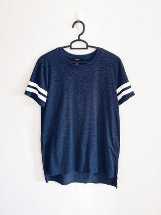 Forever 21 Blue White Stripe Sleeve Tee