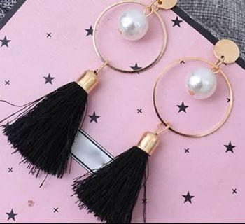 Dream Catcher Black Faux Pearl Earing #MGAG101