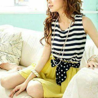 Korean Stylish Yellow Dress With Ribbon