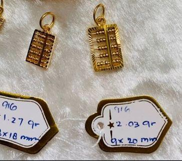 916 gold abacus pendent