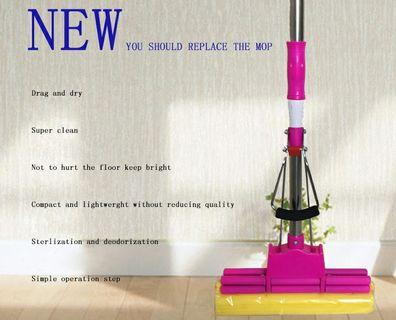 Lazy person retractable household mop does not need hand wash roller type sponge gummy to absorb water mop-intl