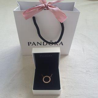 Brand New Pandora Circle of Sparkle Rose Gold Necklace