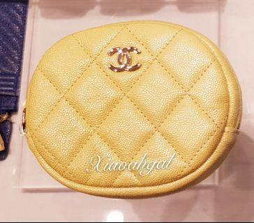 💛19S 💛 Chanel iridescent yellow caviar gold hardware coin purse pouch wallet (able put card)