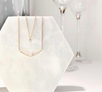 14K 玫瑰金V型鑽石項鏈