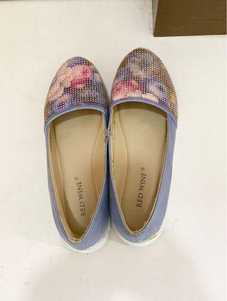 Blue blink glitter floral printed casual shoes