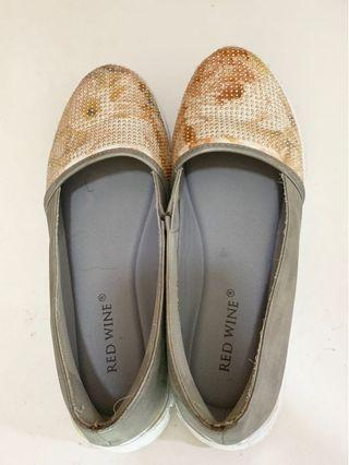 Grey blink glitter floral printed casual shoes
