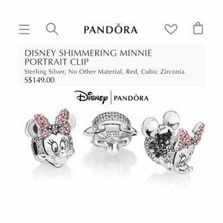 🚚 Bnis pandora Disney Shimmering Minnie Portrait Clip
