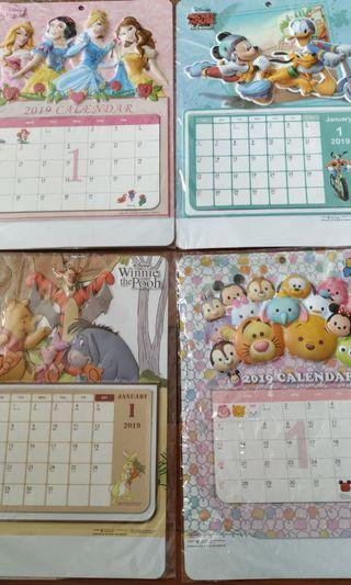 Calendar 日曆 Mickey mouse tsum tsum princes winnie the pooh disney