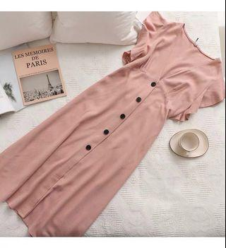 🚚 PO Dusty Pink Linen Ruffle Sleeves Midi Dress