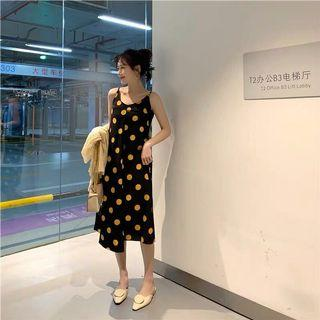 PO M-4XL Oversize Polka Dots Midi Dress