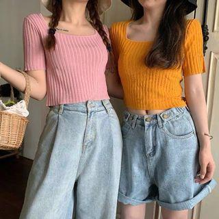 PO Knitted Round Neck Crop Tee Top