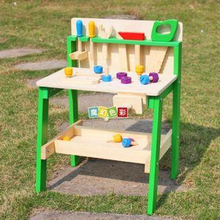 SN080 - Wooden DIY Construction Workshop Master Workbench/Tool Bench - Nuts and Bolts Motor Skills Educational Toy