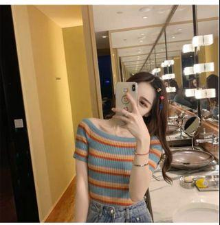 🚚 PO Knitted Rainbow Stripes Off Shoulder Top