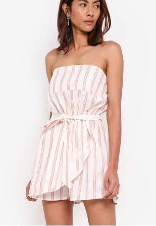 Cotton on striped side tie romper