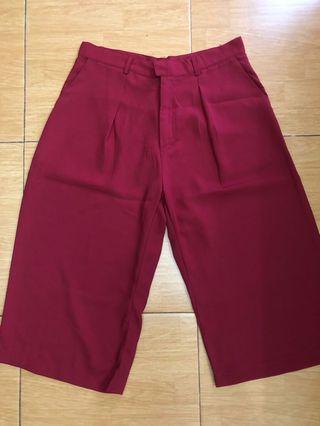Celana kulot merah all size chiffon tebal