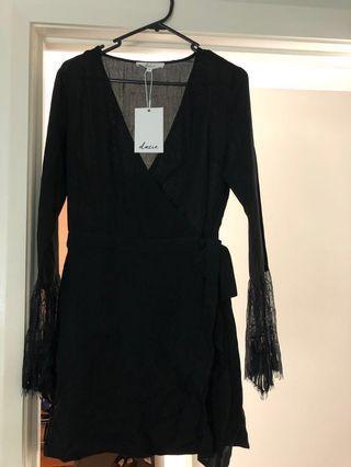 'Dazie' Alenya Black Lace Sleeve Dress Size 8