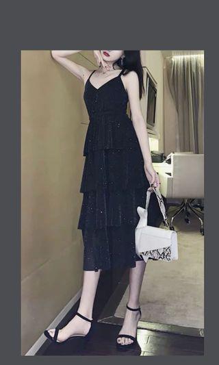 最後一件現貨 Free size 氣質黑色閃粉蛋糕層層長裙 bling bling black long dresses dress cake layer layering layers