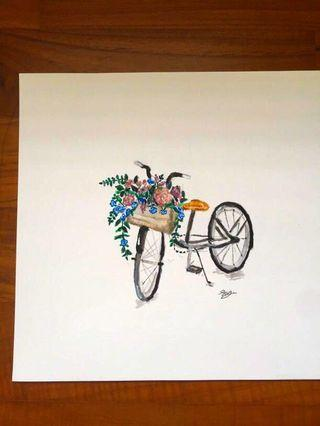 Bicycle with flower basket water colour painting