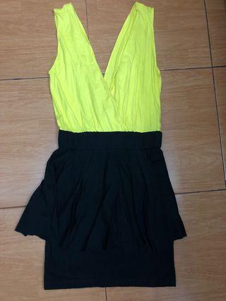 Peplum dress kuning rok hitam all size bahan cotton stretch