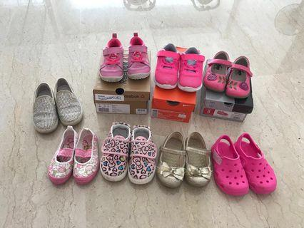 Various Girls kids toddler shoes USA 7, 8 , 13-16cm to clear