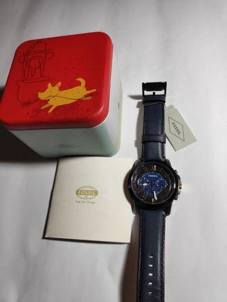 Fossil Jam Tangan Pria Grant Chronograph Navy Leather Strap FS5061 Ori