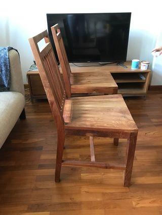 Pair of solid teak wood Scanteak chairs