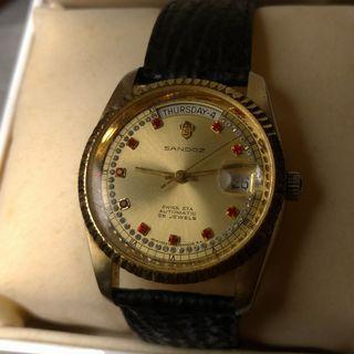 swiss sandoz 機械錶 全金帶鑽面 day-date automatic watch eta2834 2824