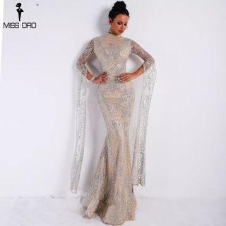 (PO) XS-L 2019 Women Sexy  High Neck Long Sleeve Split Glitter Dress Female Maxi Elegant Party Dress