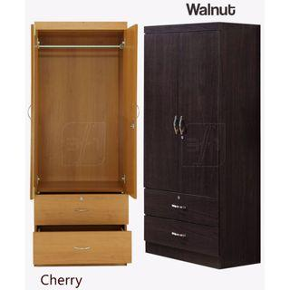 Jordon 2D Wardrobe Cherry and Walnut