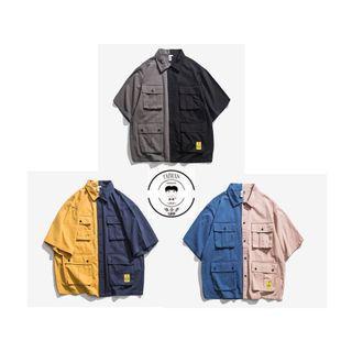 『誰合普UHF®』合作品 復古拼接色 短袖特色襯衫 男女皆可。3色 (網路特賣價$990)起標價=直購價