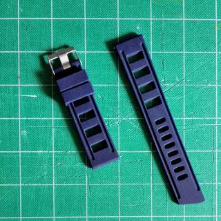 全新22mm深藍色膠錶帶