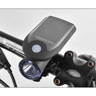 【暉長豪商行】太陽能充電車燈  Solar/USB charging bike light 自行車燈 USB充電 太陽能充電 腳踏車燈 單車燈 太陽能手電筒 車前燈 夜騎燈